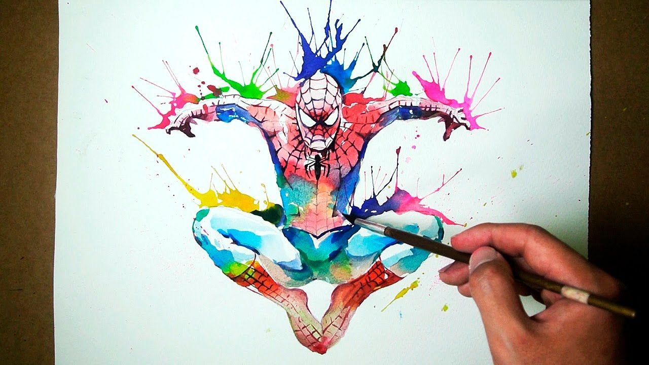 New Marvel Spiderman Watercolor Blowing Technique Jayart
