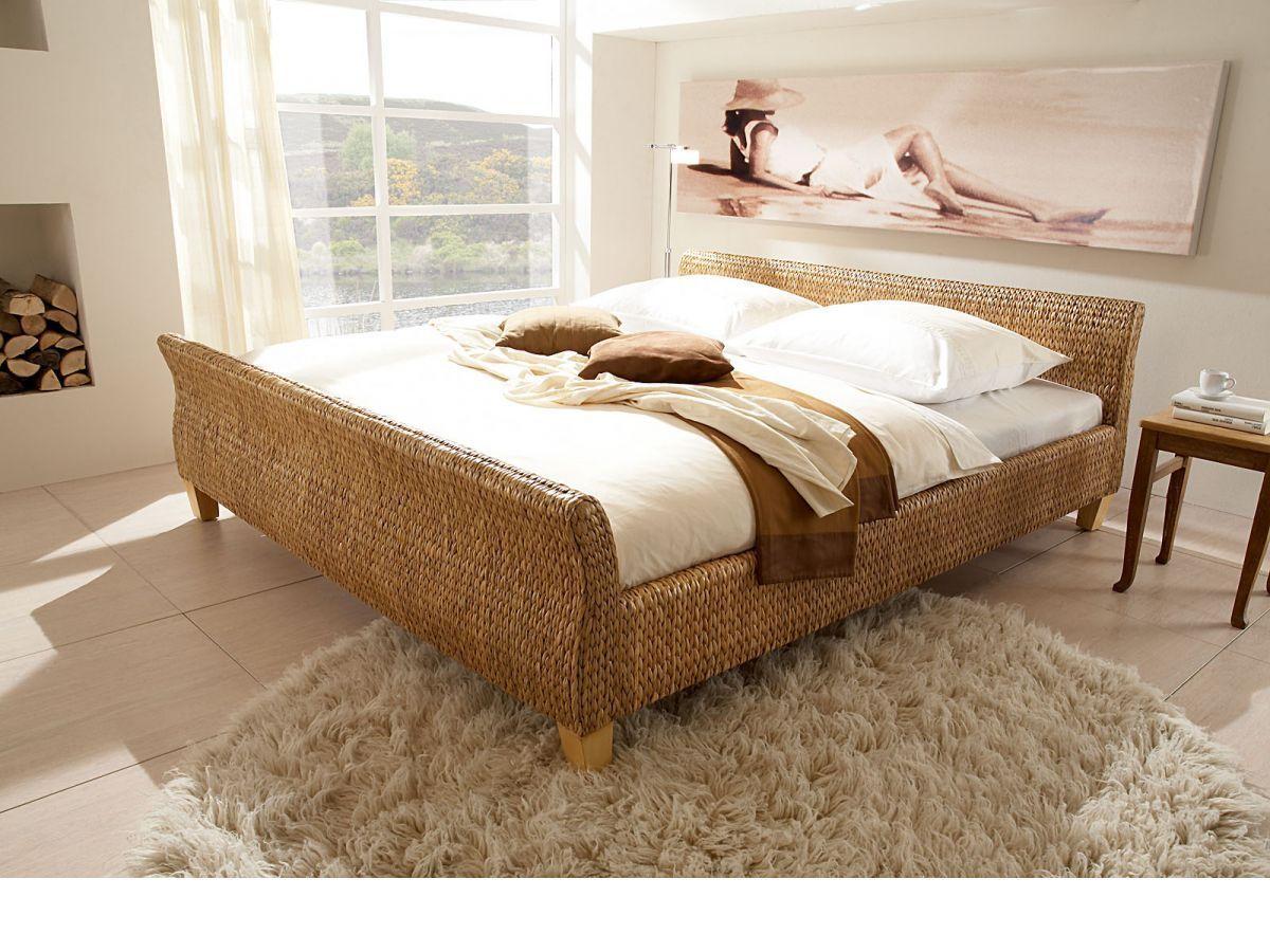 Ehebett Bett 180x200 Wasserhyazinthe Rattanbett Schlafzimmer Mobel