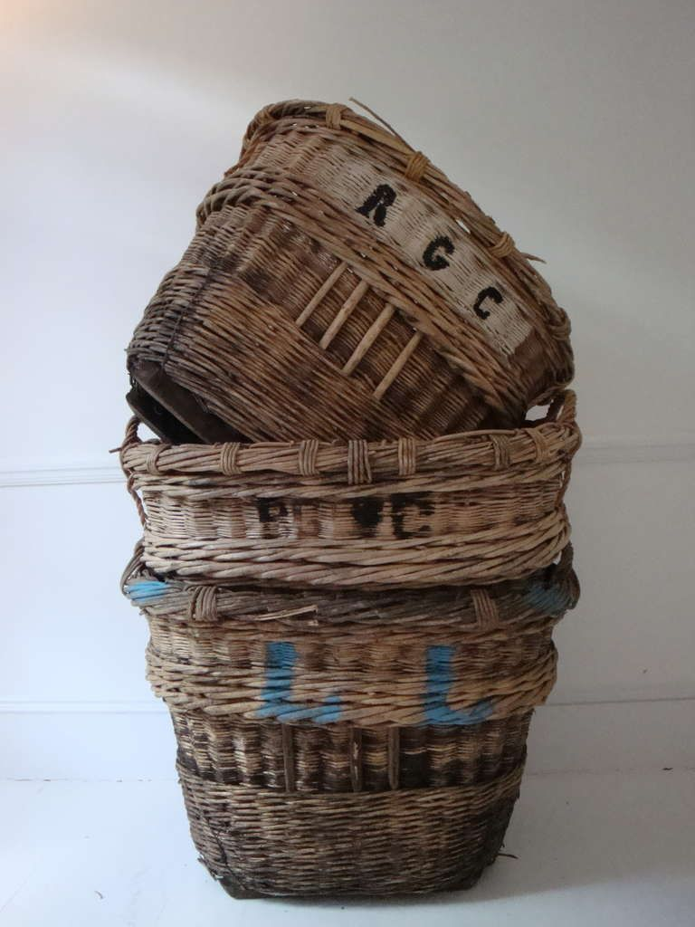 Large French Champagne Baskets | From a unique collection of antique and modern baskets at http://www.1stdibs.com/furniture/more-furniture-collectibles/baskets/