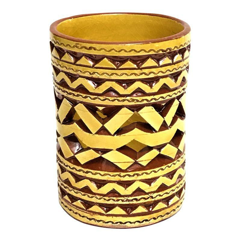 Moroccan Hand Painted Yellow Tealight Cup Holder is part of Yellow Home Accessories Paint - Add a touch of exotic distinction with this Atlas ceramic candle holder handcrafted by master craftsmen to illuminate any room with it's unique reflective pattern  Size 2 75 D x 4 H