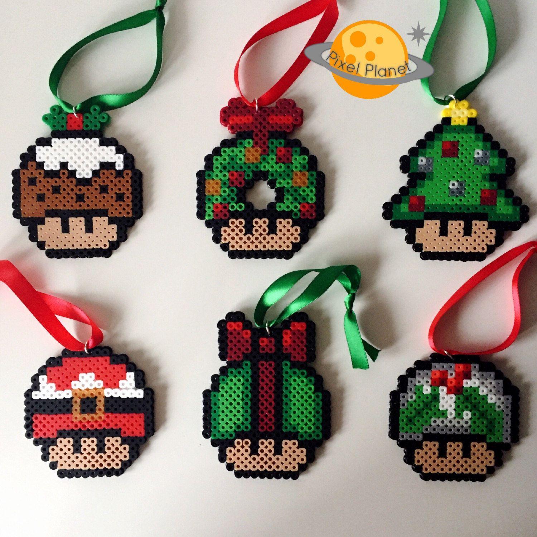 Mario Mushroom Perler Beads Sprite Christmas Ornaments By Pixelplanetshop On Etsy Christmas Perler Beads Perler Bead Mario Hama Beads Christmas