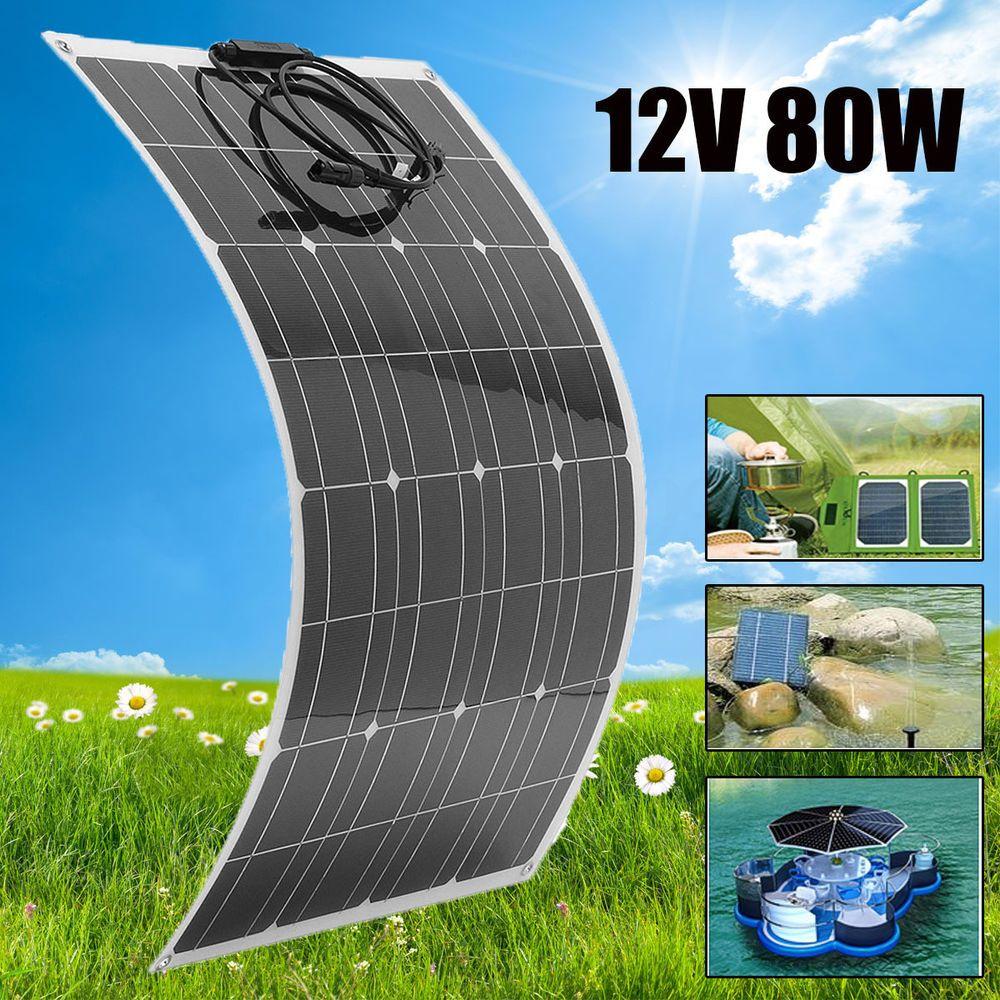 Elfeland 80w Watt 12v Flexible Solar Panel Battery Charger Wire For Rv Boat Ebay Solar Panels Solar Flexible Solar Panels