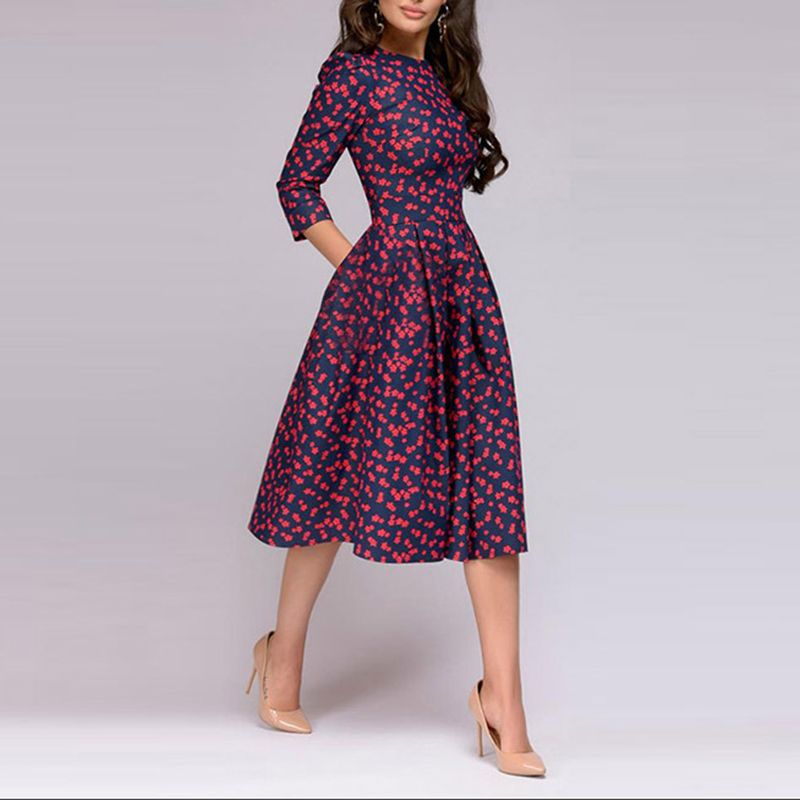 c95e5441f4 3 4 Sleeve Floral Printed Skater Party Dress – Chicokay