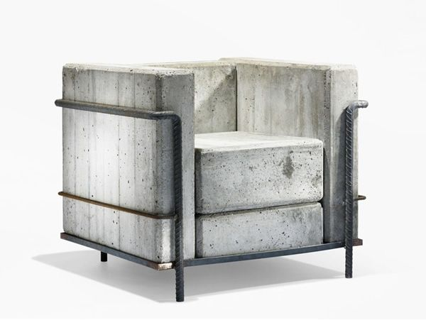 Concrete Chair, Stefan Zwicky Inspired by the 'LC2 armchair""