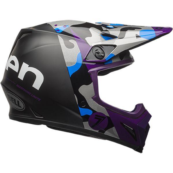 Bell 2017 Mx 9 Seven Soldier Purple Black Helmet Motocross Helmets Mtb Riding Helmet