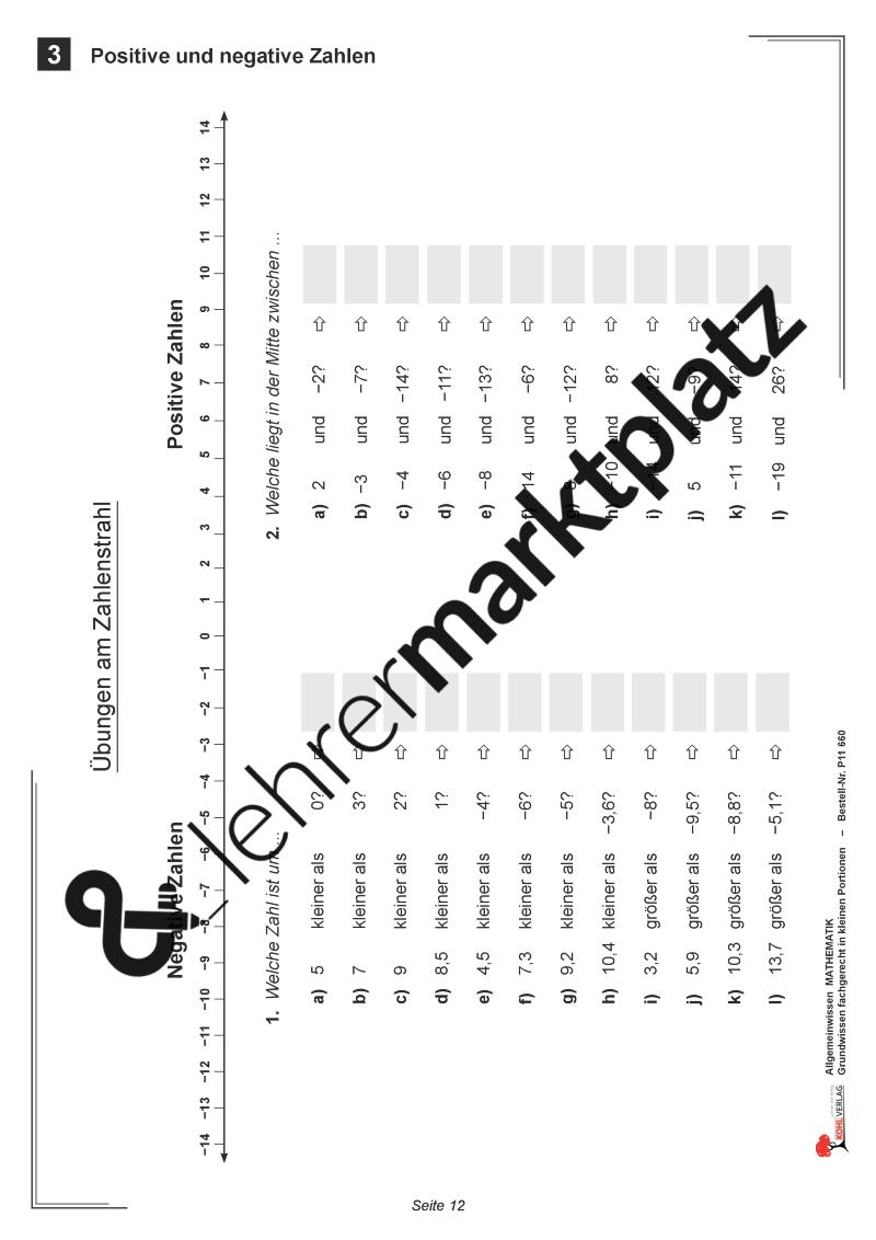 Allgemeinwissen Mathematik: Positive und negative Zahlen | Kohl ...