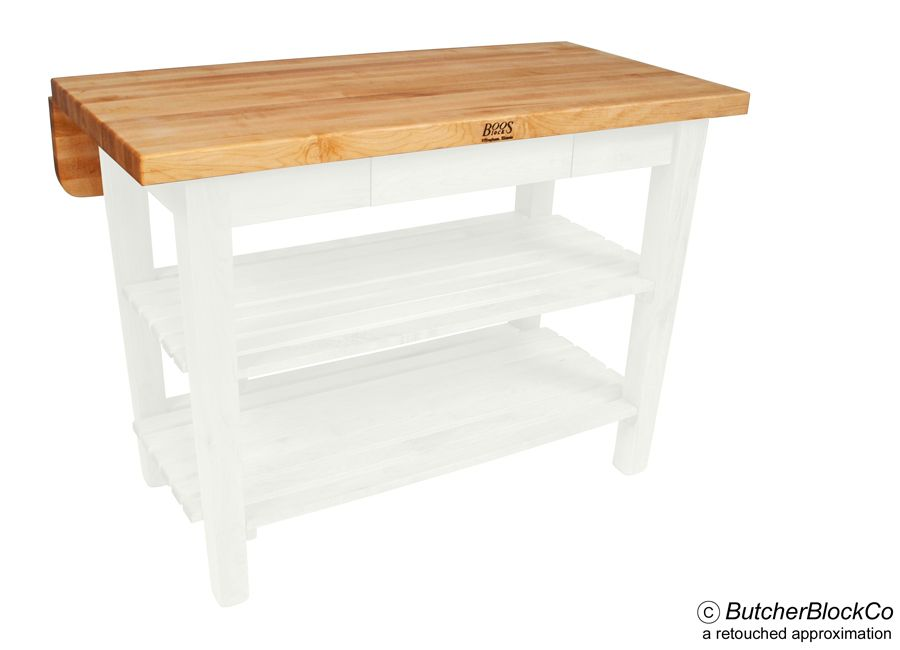 John Boos Kitchen Island Bar Butcher Block With Drop Leaf   Alabaster Base