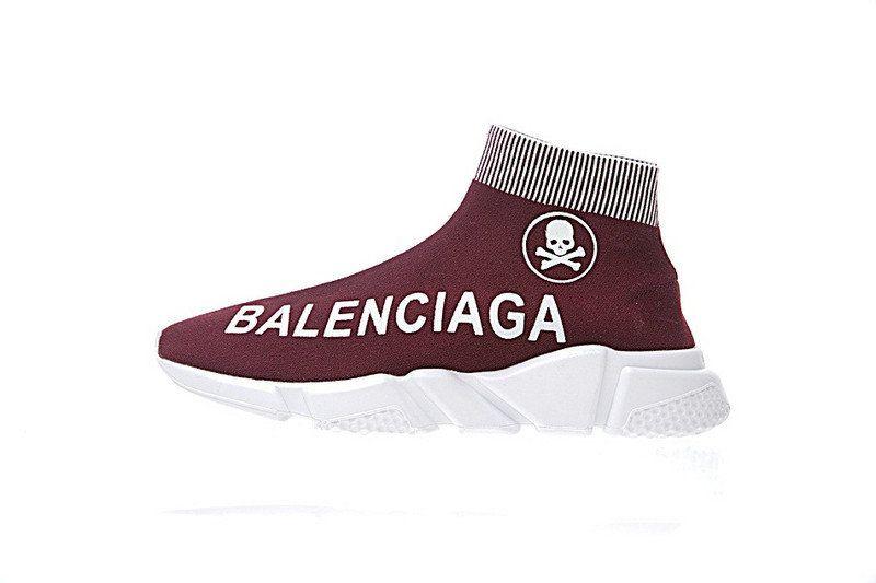 519efcfdd122 2018 Real Mens Balenciaga Speed Stretch-Knit Trainer Human Skeleton Wine