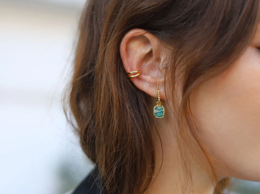 Amazonite 18k Gold Vermeil Hoop Earrings