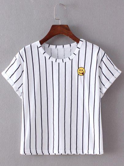 Camiseta rayas verticales bordada - marino