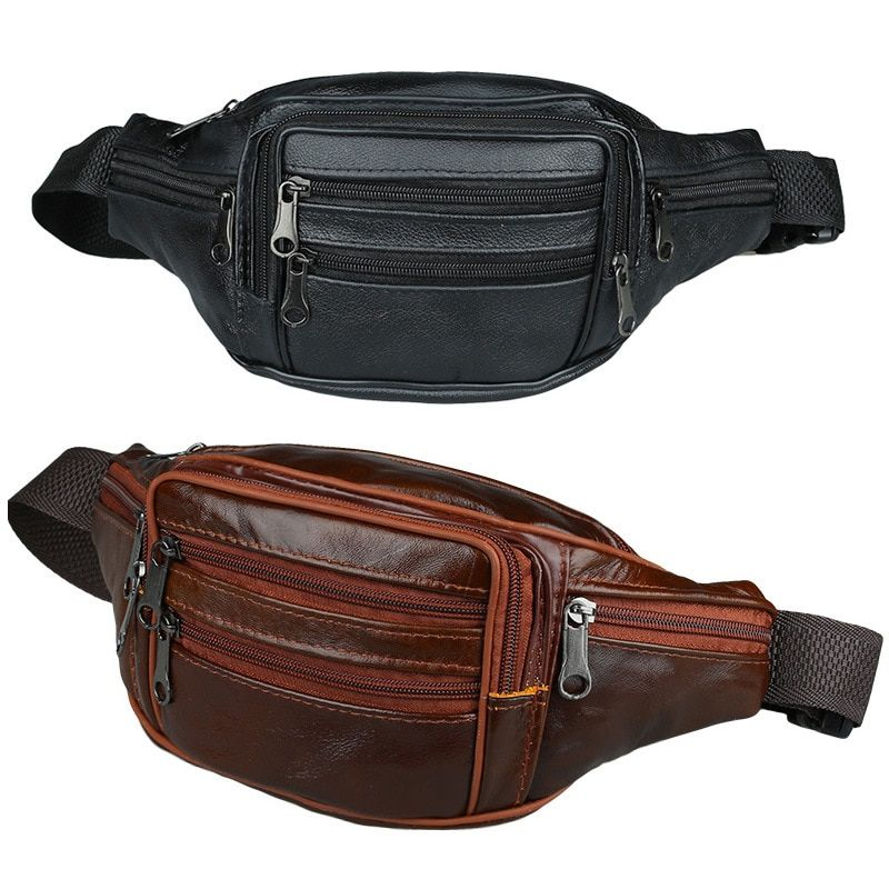 Running Belt Leather Waist Bag Waterproof Handy Men Fanny Pack Small Black Travel Waist Belt Bag Wallet Pouch Purse Leg Bag