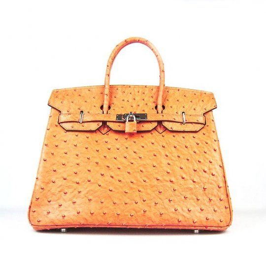 5f1930ebfc1 35cm Buy Online High-end Hermes Handbag Birkin Classic Famous Brand 6089 Orange  Ostrich Stripe Silver