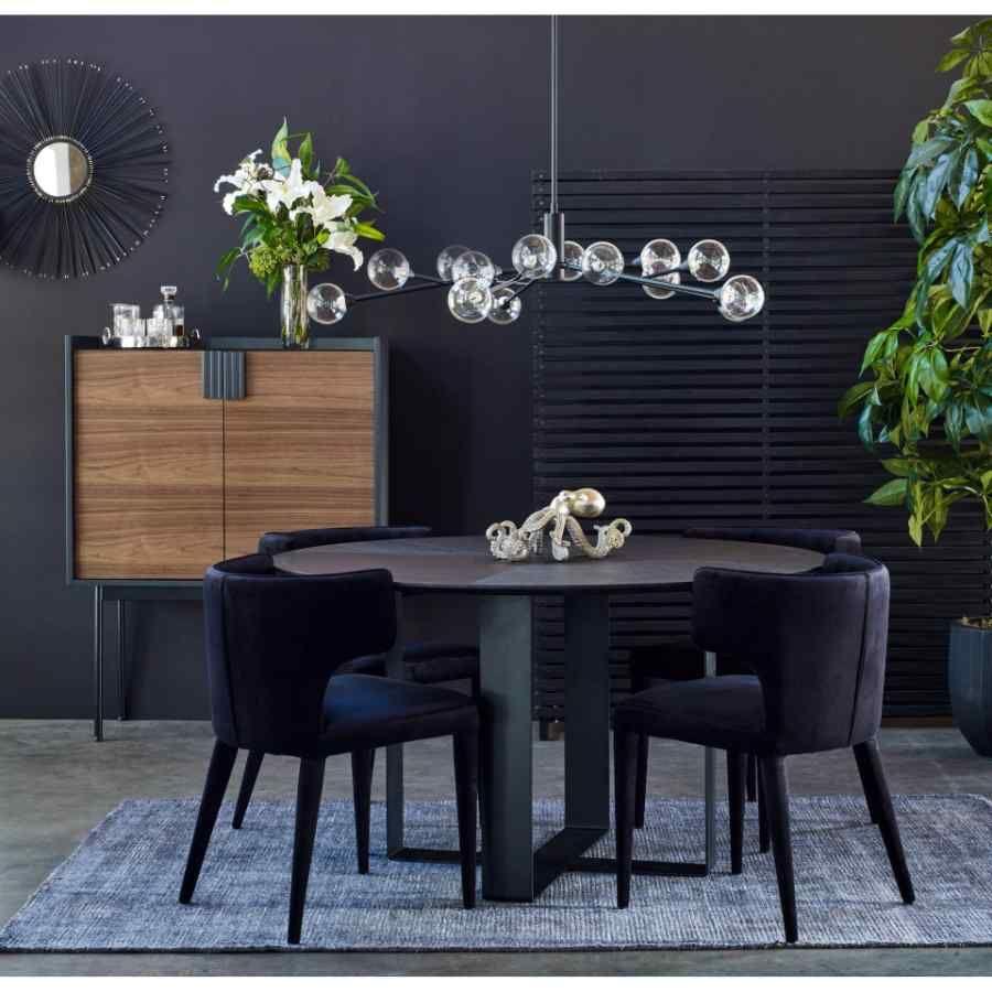 20 Inch Dining Chair Black Black Art Deco Moe's Home