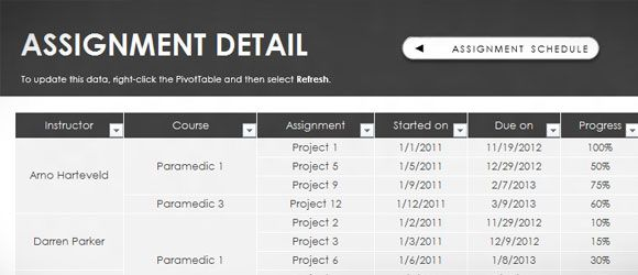 Free Assignment Template For Excel 2013 Timetable Template