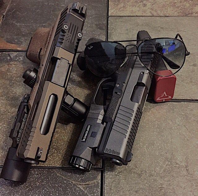 Glocks, pistols, Inforce, guns, weapons, self defense, protection, 2nd amendment, America, firearms, munitions #guns #weapons