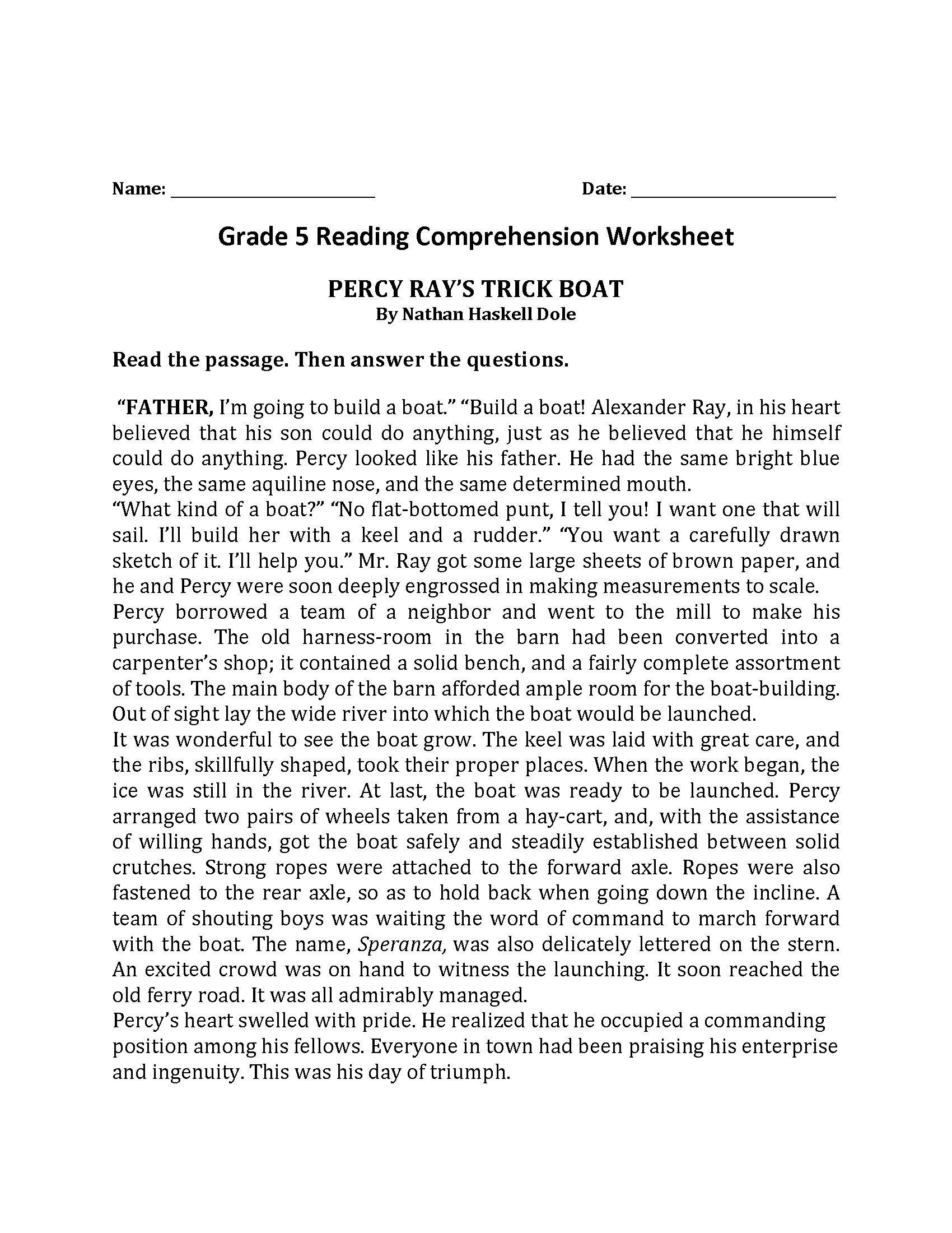 Percy Rays Trick Boat\u003cbr\u003eFifth Grade Reading Worksheets   Reading worksheets [ 2200 x 1700 Pixel ]