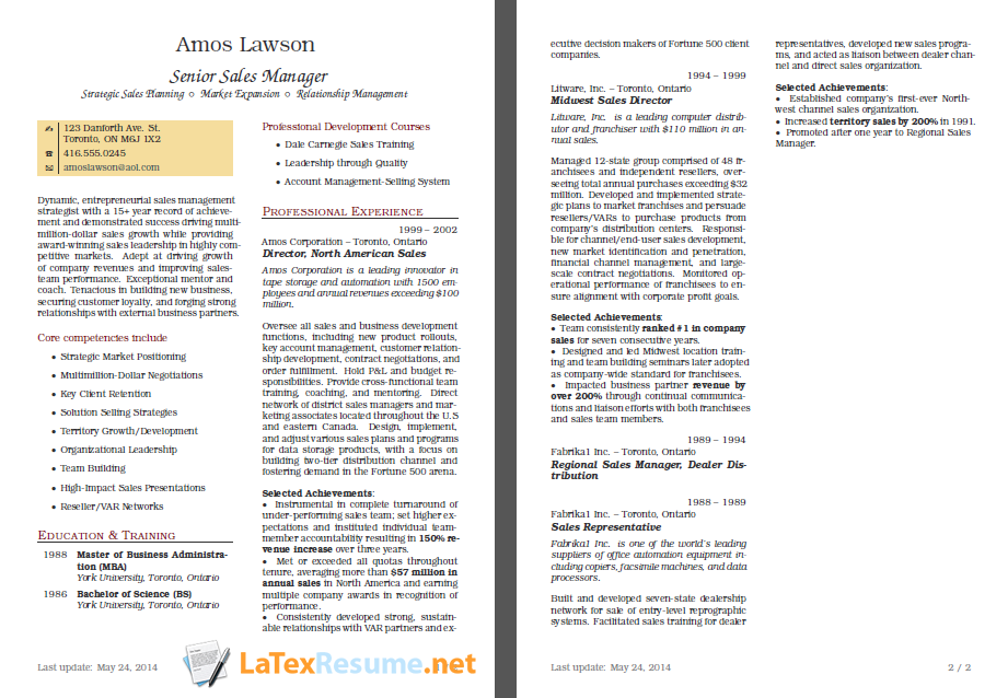 Latex Resume Example HttpWwwLatexresumeNetOurSamples