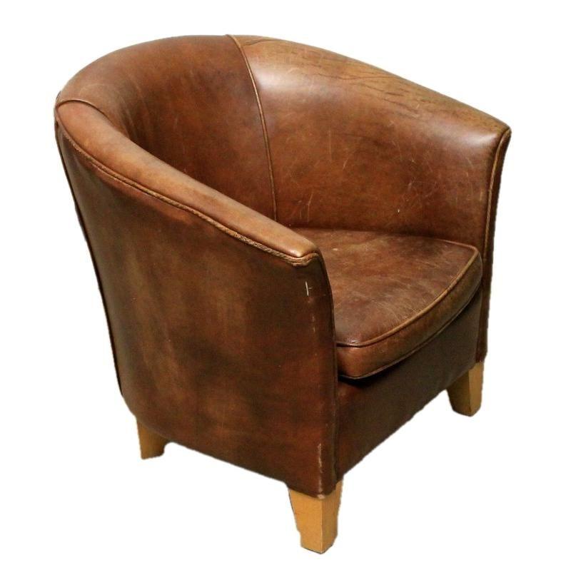 Admirable Vintage Brown Leather Tub Chair Living Room Furniture Creativecarmelina Interior Chair Design Creativecarmelinacom
