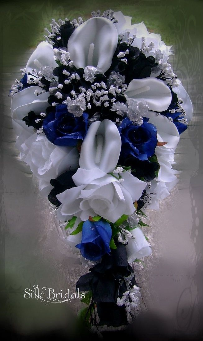 Reserved for trueblue11305 White Royal blue Black by SilkBridals ...