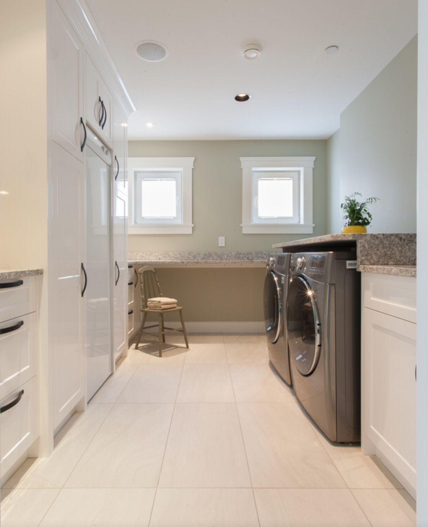 Oceanfront Craftsman Custom Home transitional laundry room vancouver Kenorah Construction & Design Ltd Benjamin Moore Spanish Olive
