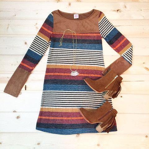 Suede & Striped Dress – StitchBee