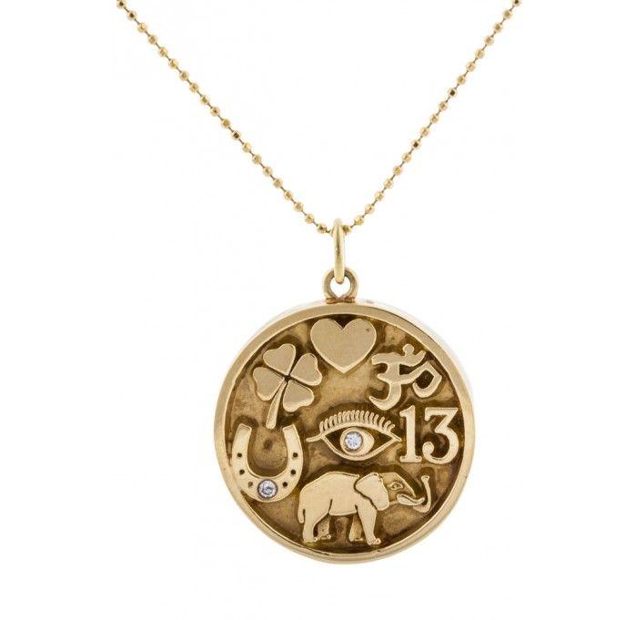 Jennifer Meyer Good Luck Charm Necklace Luck Charm Necklace Jewelry Circular Pendant