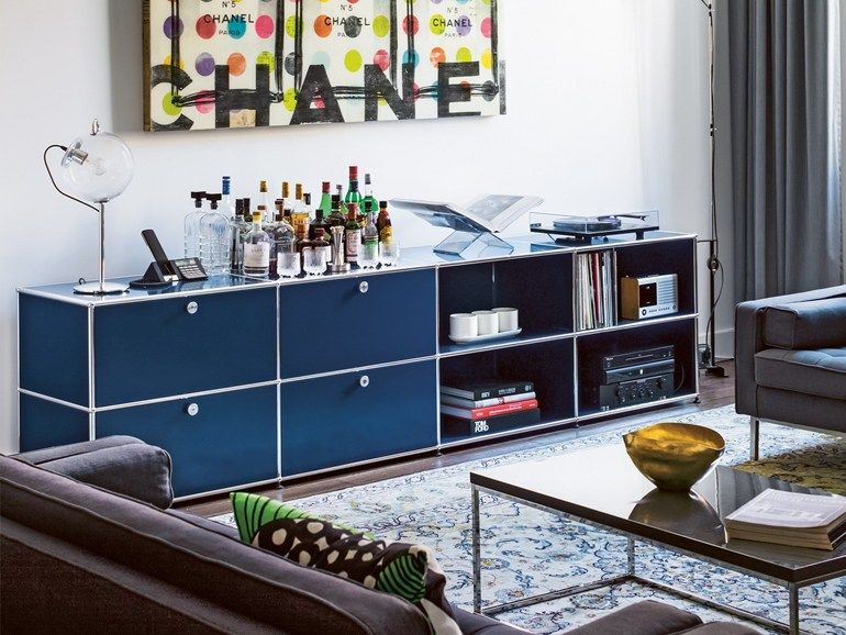 Anbau- modularer Wohnzimmerschrank aus Metall USM HALLER SIDEBOARD ...