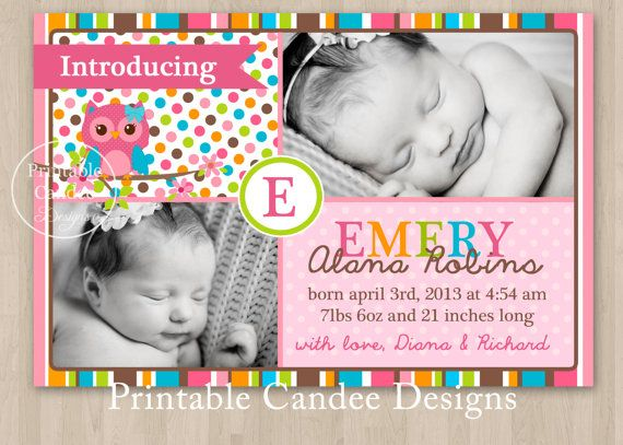 Mod Girl Owl Baby Birth Announcement Photo Card by printablecandee, $10.00