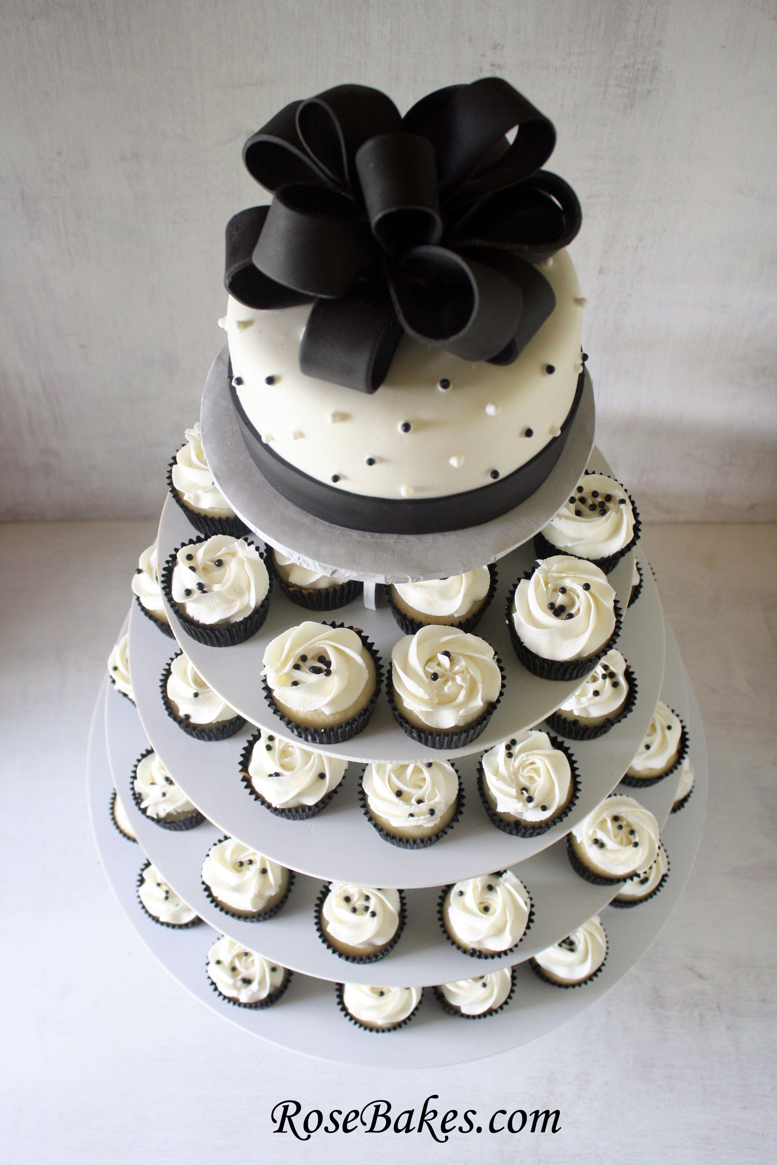 Black Hot Pink Wedding Cake Cupcake Tower White