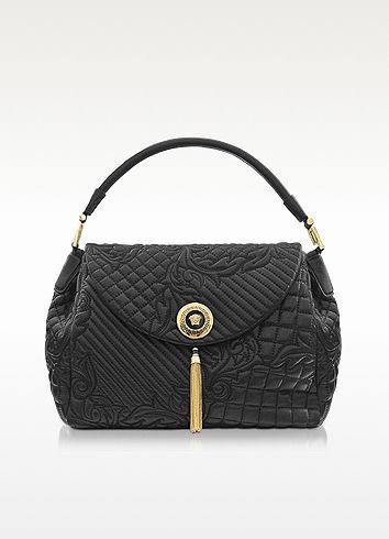 2ad9446a1d45 Versace Talia Vanitas Black Embossed Leather Shoulder Bag  2