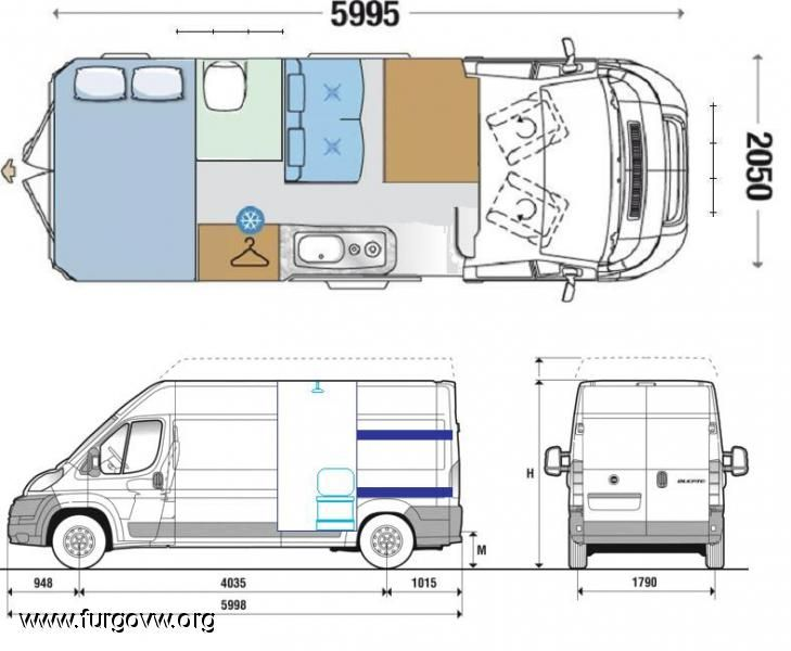 Fiat ducato l3h2 39 07 nuestra gran volumen la bakarakola for Campervan furniture plans