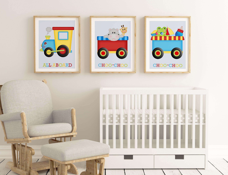 printable nursery set trains all aboard train set choo choo baby