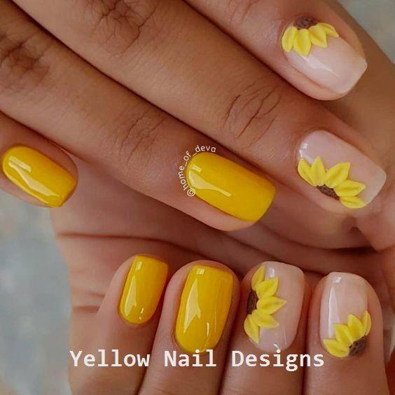23 Great Yellow Nail Art Designs 2019 Nails Naildesigns Square Acrylic Nails Yellow Nails Short Acrylic Nails