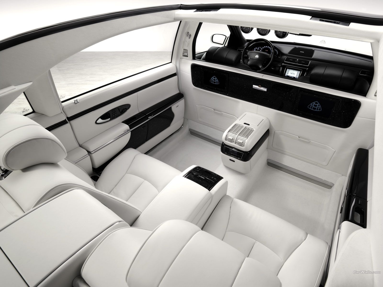 Maybach Laundaulet interior. Recline on white leather.