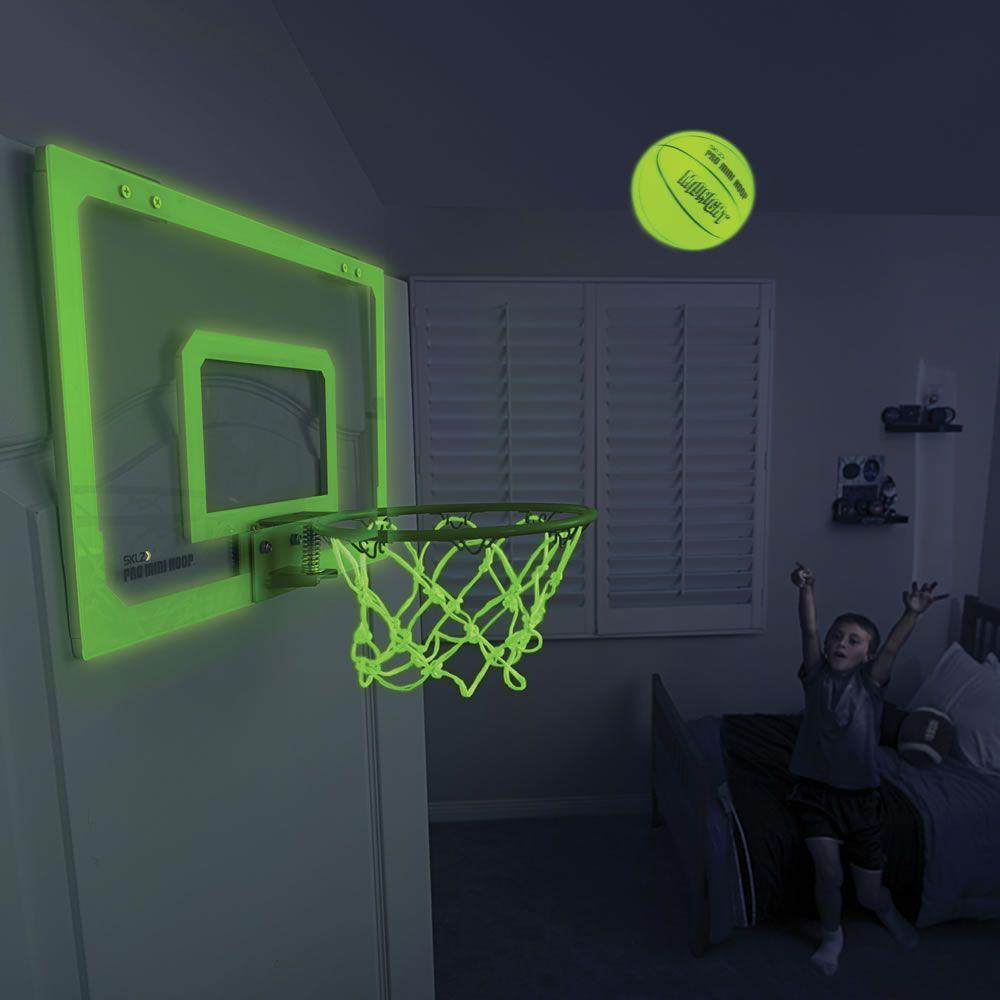 The Glow In The Dark Indoor Basketball Hoop Hammacher Schlemmer