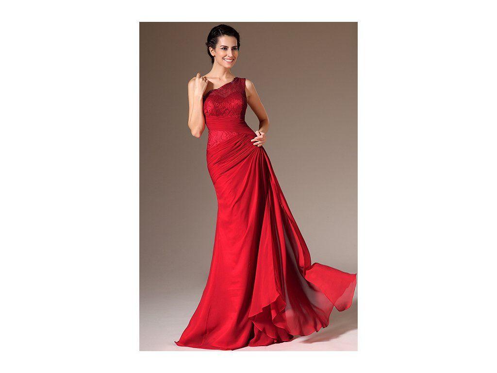 1e25c686dd3 Červené společenské šaty na jedno rameno elegantní šaty na jedno rameno na  krajkový živůtek navazuje dlouhá