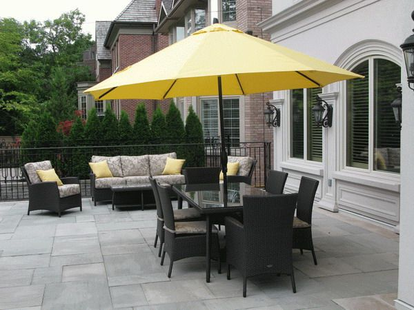 Perfect Black Patio Furniture Sets With Yellow Umbrella