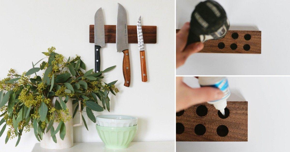 C mo hacer tu propio portacuchillos con madera reciclada for Cosas con madera reciclada