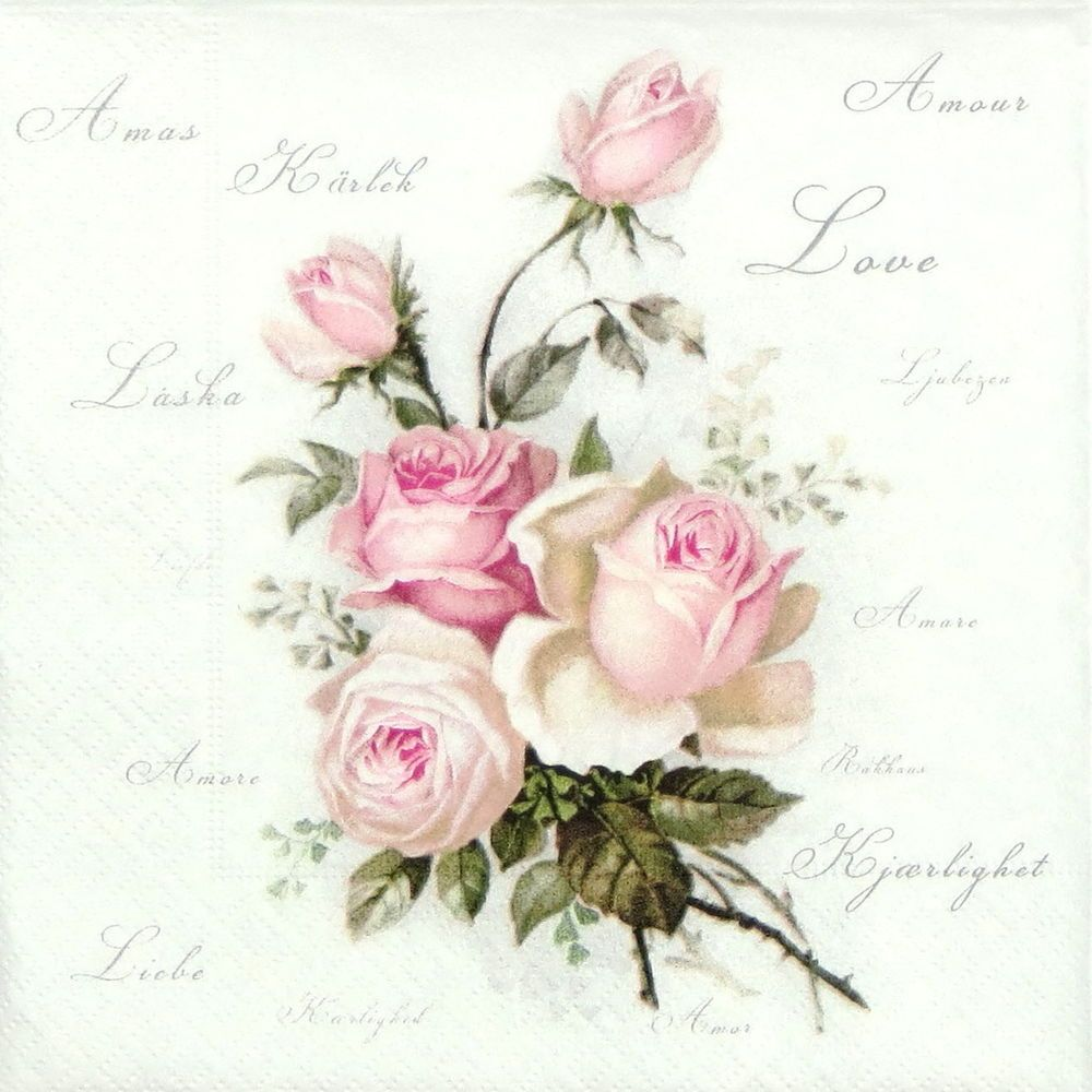 """4x Single Table Party Paper Napkins for Decoupage Craft """"Vintage Amore Roses"""" #Decoupage"""