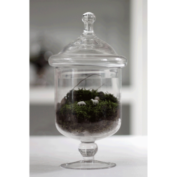 terrariums with sheep & moss. so cool. i need to have jessica zieg teach me how to make one.