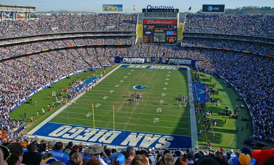 View Of The Field At Qualcomm Stadium Home Of The San Diego Chargers Picture Mark Whitt Nfl Stadiums Qualcomm Stadium Nfl Football Stadium
