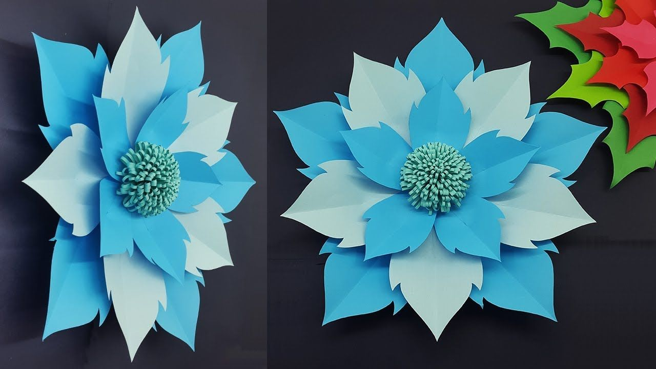 Giant paper flower easy making tutorial with templates
