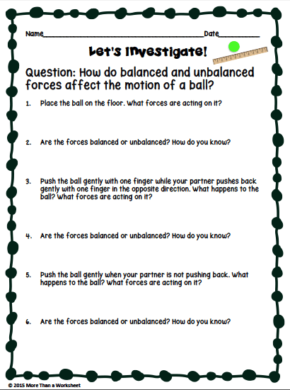 Teaching Balanced And Unbalanced Forces - More Than A Worksheet Teaching,  Teaching Science, Third Grade Science