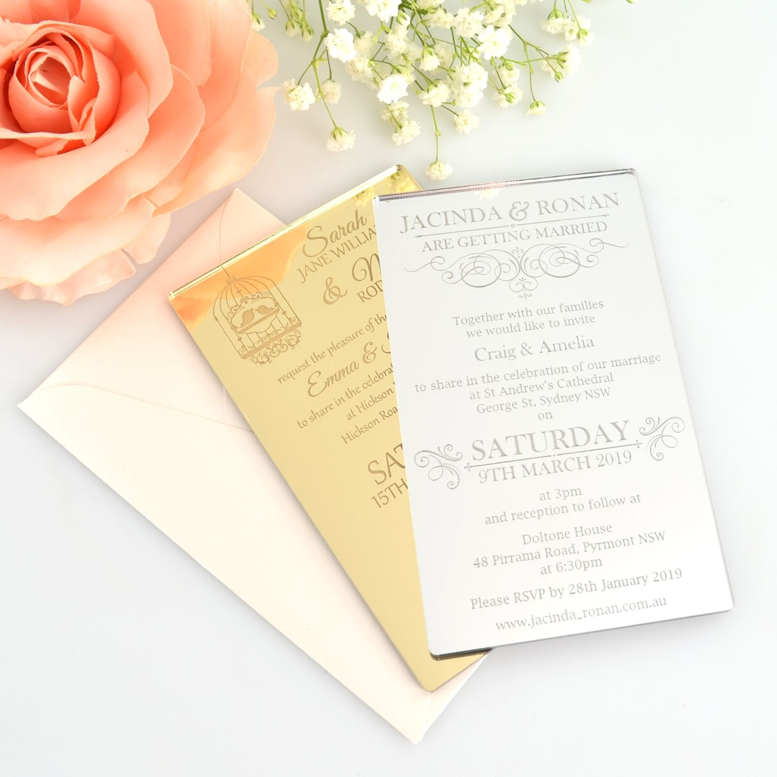 Mirror Gold & Silver 11B Invitations | Wedding | Pinterest | Unique ...