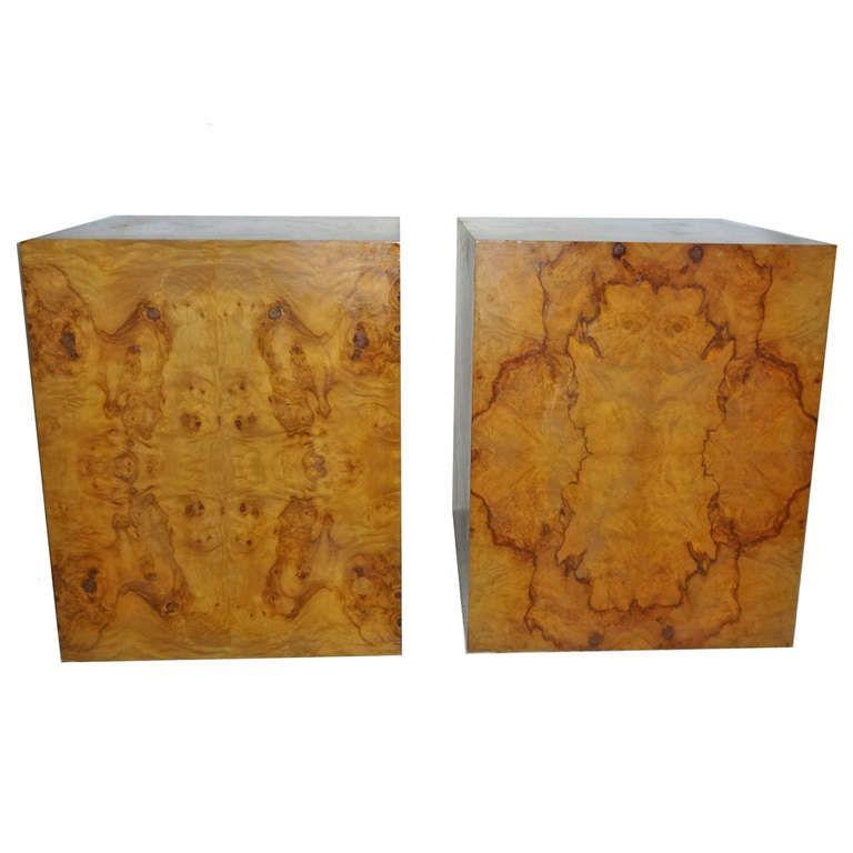 Milo Baughman Burl Wood Side End Tables 1stdibs Com Furniture