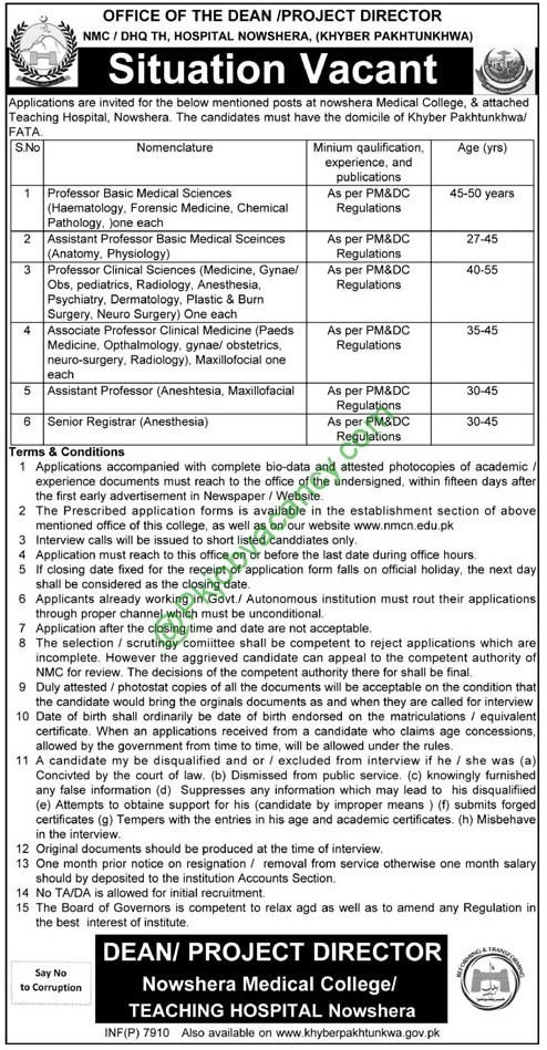 Nowshera Medical College And Teaching Hospital  Jobs