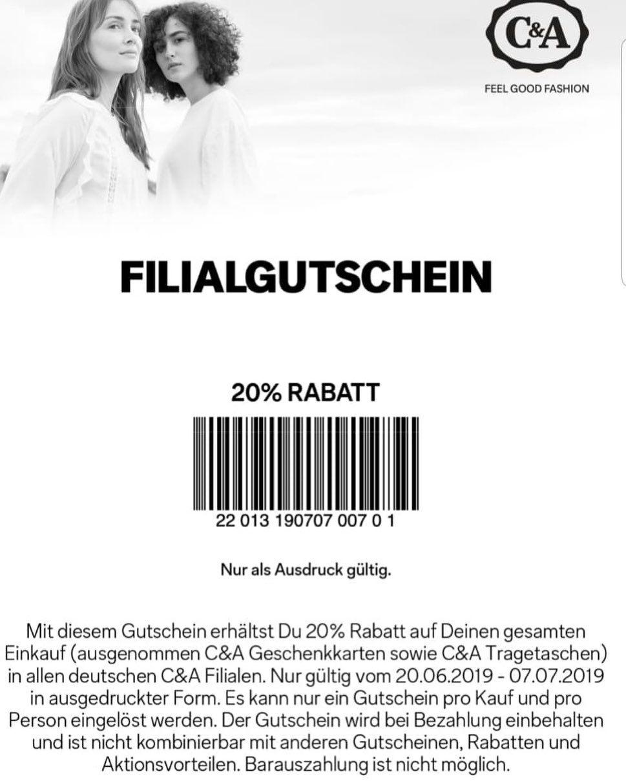 Unbezahlte Werbung Anzeige Bei C A Gibt Es Seit Gestern Mit Diesem Gutschein 2 In 2020 C A Modetrends Werbung