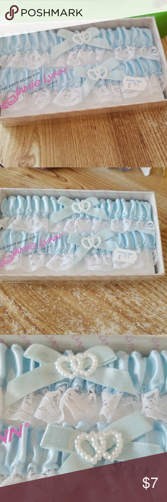 Wedding Accessories TwoWedding garters trimmed in white lace, blue bows with pearl hearts on the middle of the garter.  One for the Bride to keep and one to throw.  One box with two items. New with price on plastic top Jamie Lynn Other