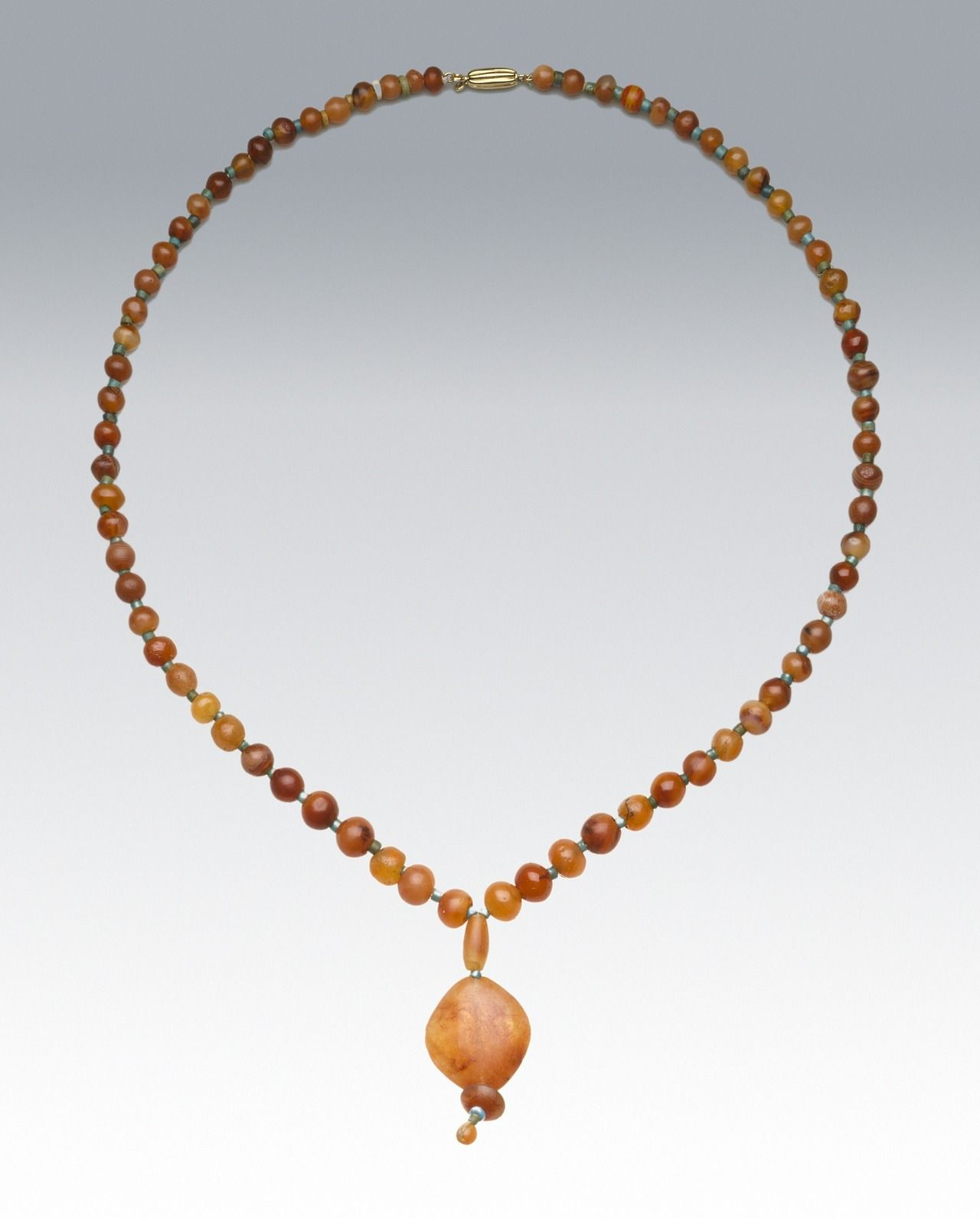 Egyptian necklace, carnelian and faience, 664-525 BC