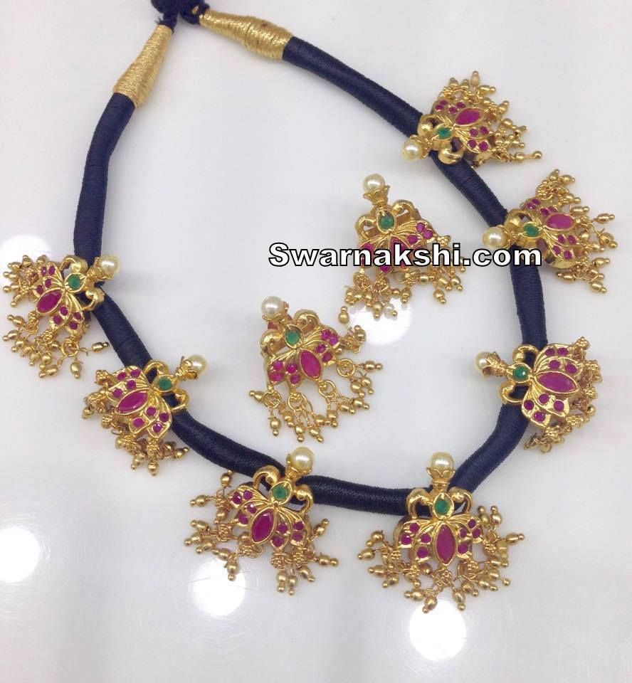 93f32db4e 1 gram gold ruby lotus pendants black thread necklace Inbox us or whatsapp  to 09581193795 to
